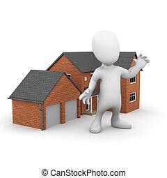 casa, hombre pequeño, exterior, 3d