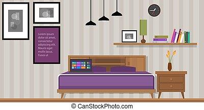 casa, homr, vetorial, quarto, interior, mobília
