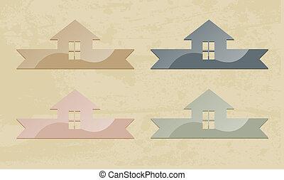 casa, icon., grunge, fondo