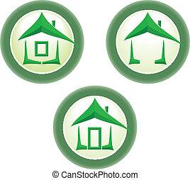 casa, icon., verde