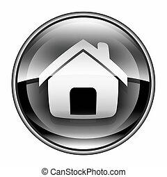 casa, icona, nero, isolato, bianco, fondo