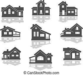 casa, icone, set