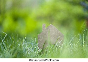casa ideal, en, pasto o césped