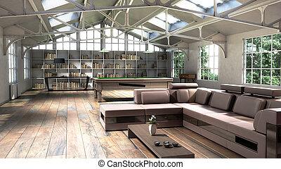 casa, illustrazione, grande, finestra, interno, bianco, 3d