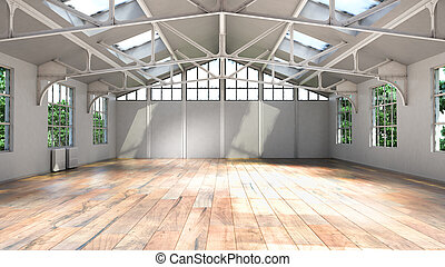 casa, illustrazione, grande, finestra, interno, bianco, vuoto, 3d