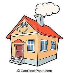 casa, illustrazione, paese