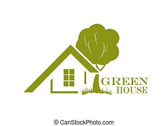 casa, illustrazione, vettore, (ecology, verde, icon., home), amichevole