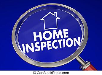 casa, ilustração, lupa, segurança, lar, inspeção, cheque, 3d