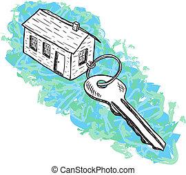 casa, ilustração, tecla