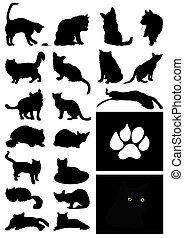 casa, ilustración, siluetas, vector, negro, cats.