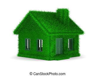 casa, imagen, aislado, fondo., blanco, pasto o césped, 3d
