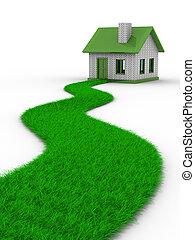 casa, imagen, aislado, grass., camino, 3d