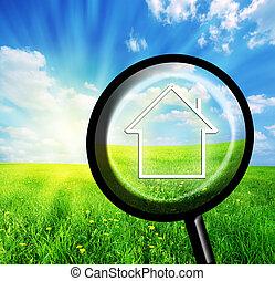 casa, imaginación, loupe, nuevo