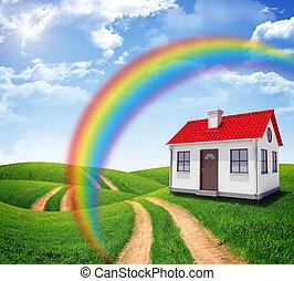 casa, in, campo verde