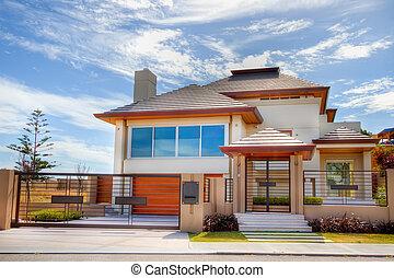 casa, incomum, modernos, projetado