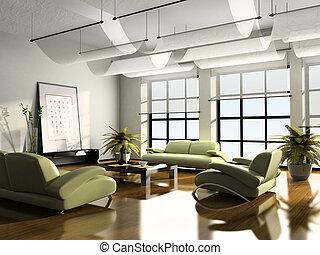 casa interior, 3d, interpretación