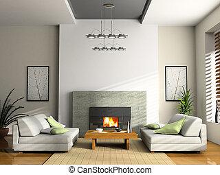 casa interior, con, chimenea, y, sofás, 3d, interpretación