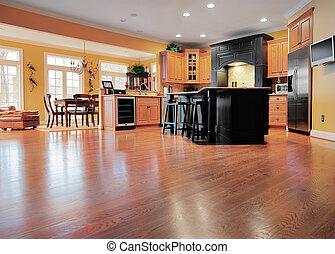 casa interior, con, piso de madera