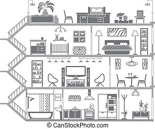 casa, interior, silhouette., vetorial, ilustração