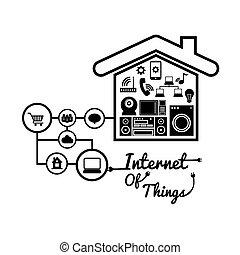 casa, internet, desenho, coisas