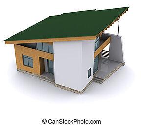 casa, interpretazione, verde, roof., fondo, bianco, 3d