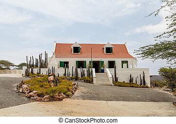 casa, intonacare, tetto, piastrella, bianco, rosso
