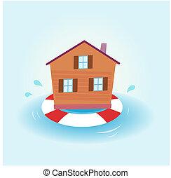 casa, inundación, -, el permanecer a flote
