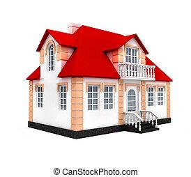 casa, isolado, 3d, modelo
