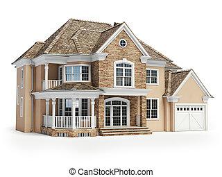 casa, isolado, ligado, white., bens imóveis, concept., 3d