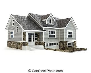casa, isolado, ligado, white., bens imóveis, concept.