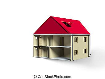 casa, isolato, bianco, fondo