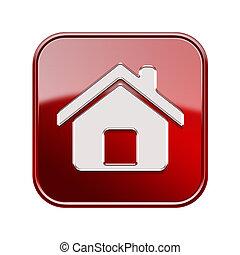 casa, isolato, fondo, bianco, icona, rosso