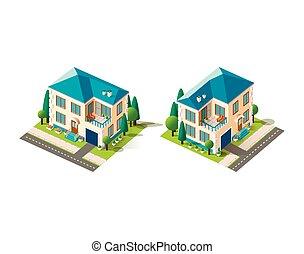 casa, isométrico, conjunto, beige
