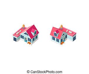 casa, isométrico, conjunto, garaje