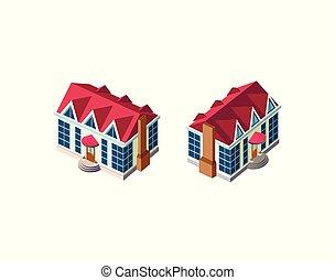 casa, isométrico, conjunto, rojo, techo