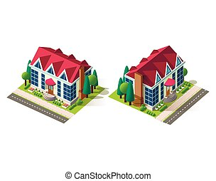 casa, isométrico, derecho, izquierda, vista