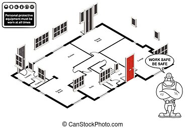 casa, isometric, plano, chão
