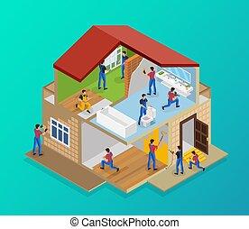 casa, isometric, renovação, modelo