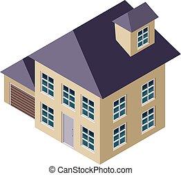 casa, isometrico, 3d