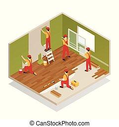casa, isometrico, rinnovamento, composizione