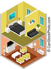 casa, isometrico, vettore, sezione