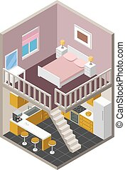 casa, isometrico, vettore