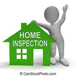 casa, ispezione, casa, mostra, esaminare, proprietà, primo piano