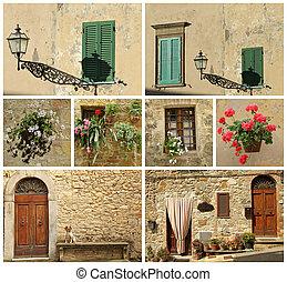 casa, italiano, toscana, collage