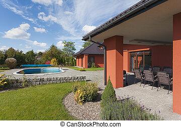 casa, jardín, piscina