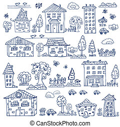 casa, jogo, árvore,  doodle
