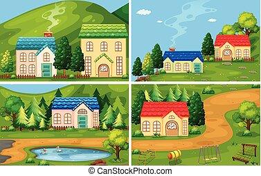 casa, jogo, floresta