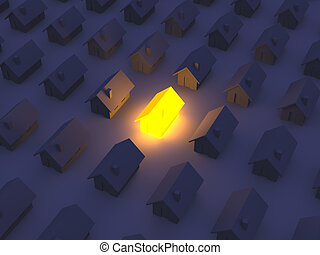 casa, juguete, iluminado