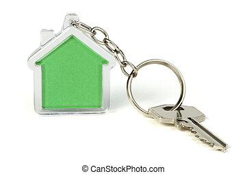casa, keychain, verde, figura