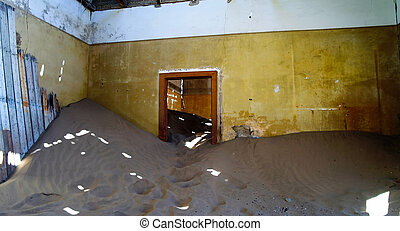 casa, kolmanskop, arruinado, pueblo fantasma, namibia,...